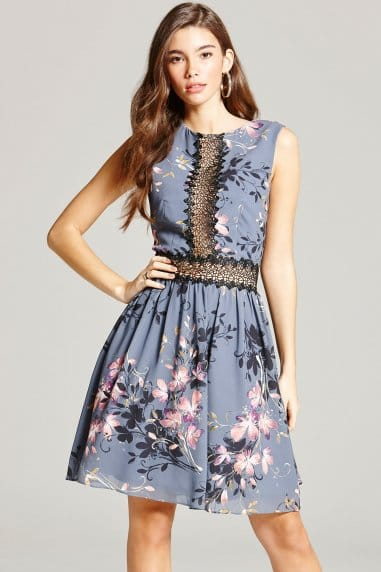 Grey Floral Print and Lace Skater Dress