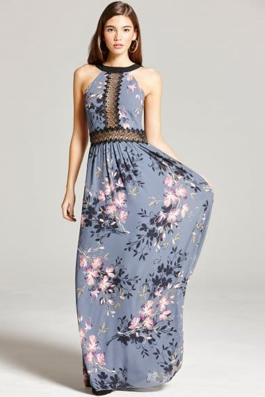 Floral Print and  Lace Maxi Dress