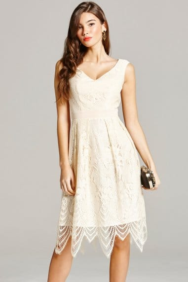 Cream Lace Prom Dress