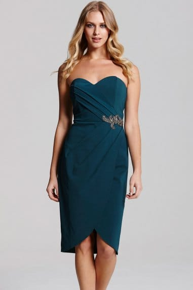 Teal Wrap Over Bandeau Dress