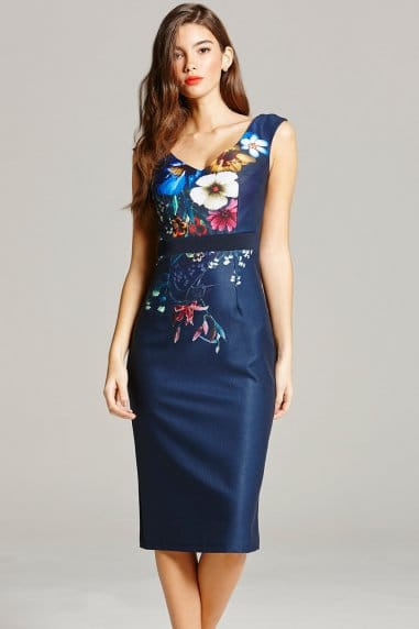 Navy Floral Print Wiggle Dress