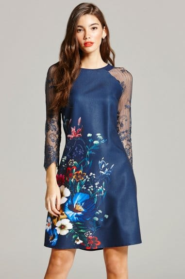 Navy Floral Print and Lace Sleeve Dress