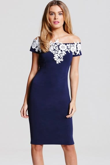 Navy and Cream Applique Dress