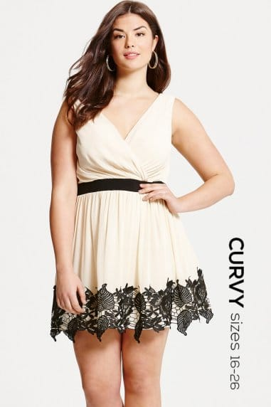 Cream and Black Lace Border Mini Dress