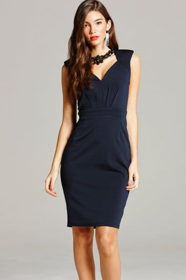 Navy Embellished Wiggle Dress