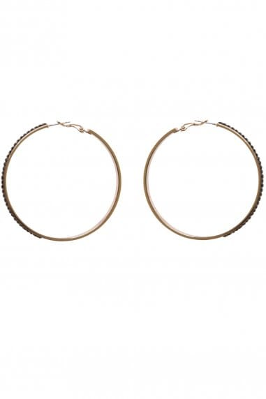 Little Mistress Accessories Gold and Black Hoop Earrings