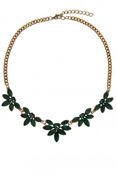 Little Mistress Accessories Gold and Emerald Jewelled Statement Necklace
