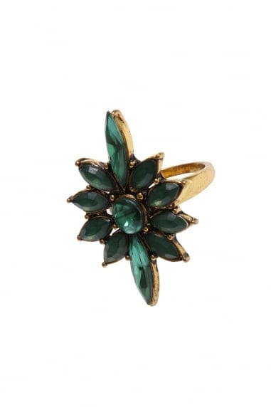 Gold and Emerald Statement Flower Ring
