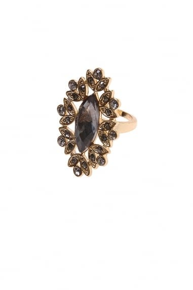 Little Mistress Accessories Gold and Black Jewel Encrusted Ring