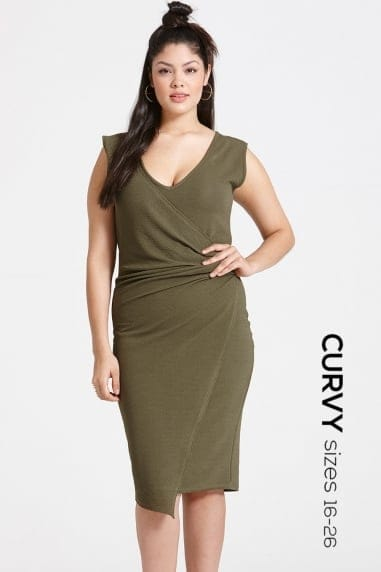 Khaki Drape Dress
