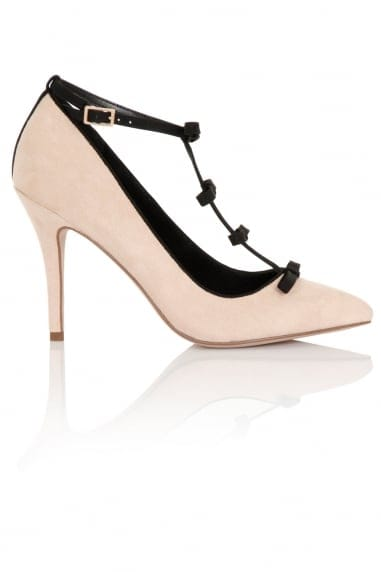 Marigold Nude Satin Court Heels with Mini Bows