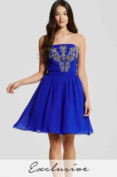 Blue Embellished Bandeau Mini Prom Dress