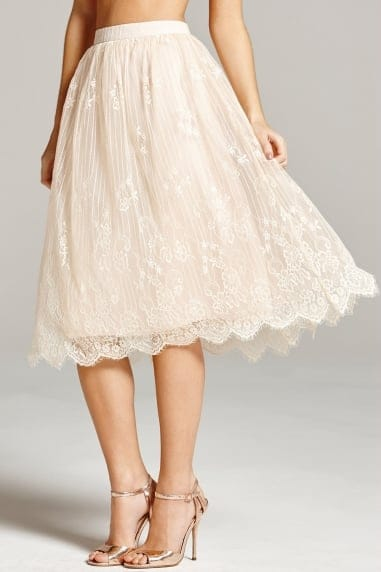 Nude Lace Scallop Hem Skirt