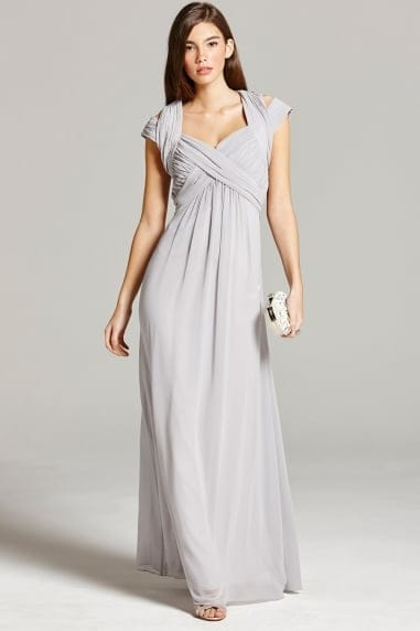 Grey Crossover Empire Maxi Dress