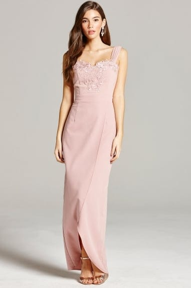 Dusty Pink Embroidery and Wrap Front Maxi Dress