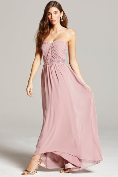 Dusty Pink Pleated Bandeau Maxi Dress