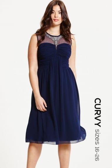 Navy Embellished and Drape Front Midi Dress
