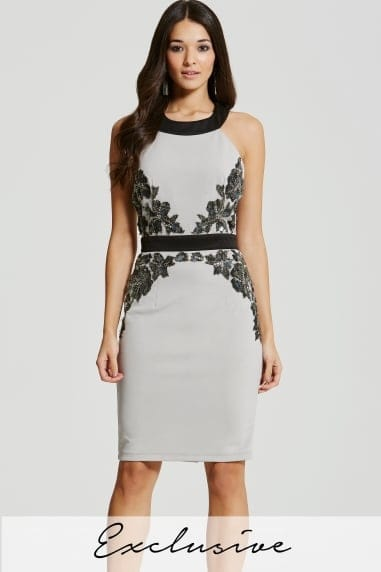 Grey Embellished Waist Bodycon Dress