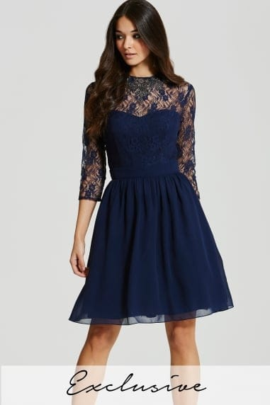 Blue Sheer Lace Prom Dress with Embellished Neckline