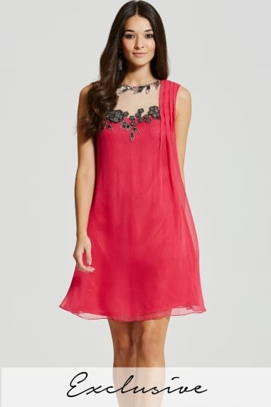 Pink Floral Motif Shift Dress