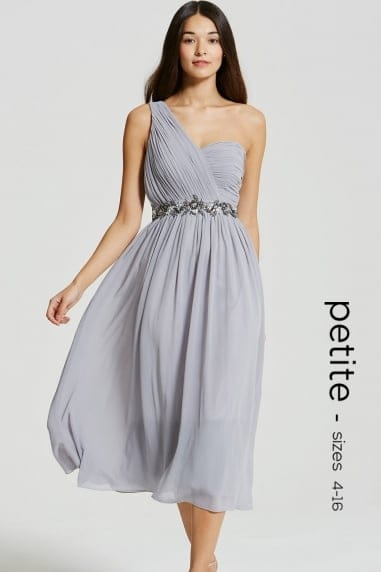 Grey One Shoulder Embellished Prom Dress