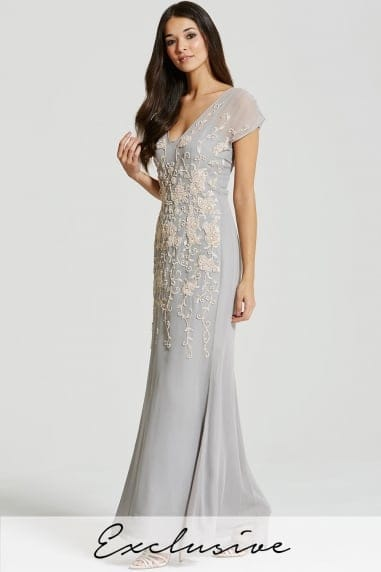Grey Heavily Embellished Chiffon Maxi Dress