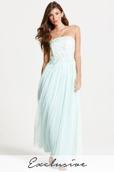 Mint and Cream Lace Overlay Bandeau Maxi Dress