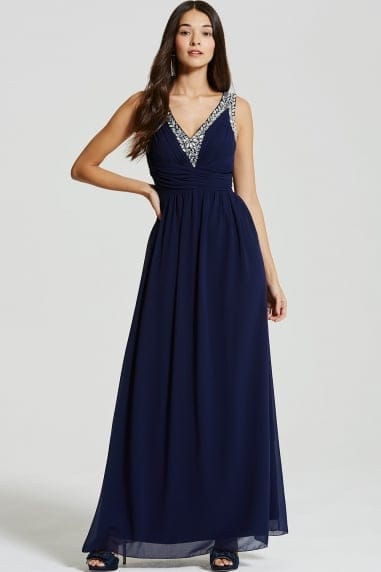 Navy Embellished Plunge Maxi Dress