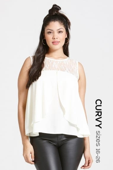 Cream Chiffon and Lace Top