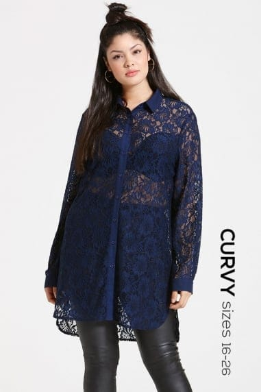 Navy Lace Shirt Dress
