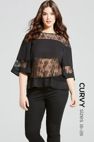 Black Lace Stripe Flared Top
