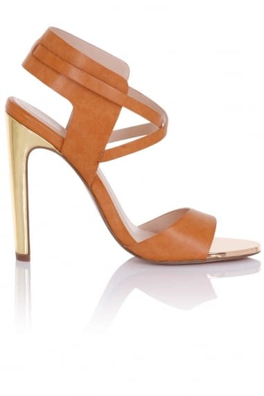Luella Tan Cut Out Heeled Sandals