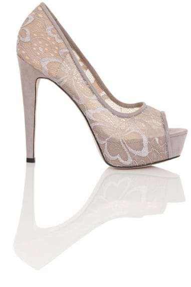 Polly Grey Lace Overlay Stilettos