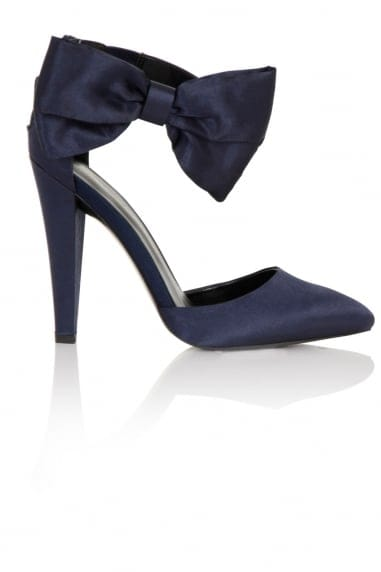 Fortuna Navy Satin Heel with Bow