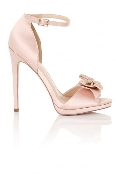 Hera Blush Satin Bow Heeled Sandals