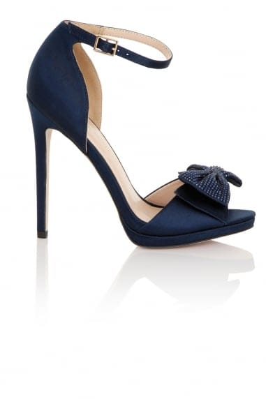 Hera Navy Satin Bow Heeled Sandals