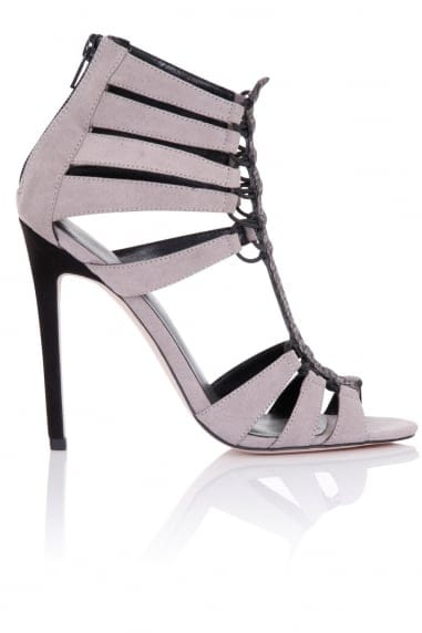 Athena Grey Cage Heeled Sandals