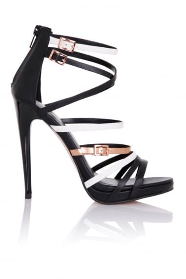 Theia Black White And Gold Strap Sandals
