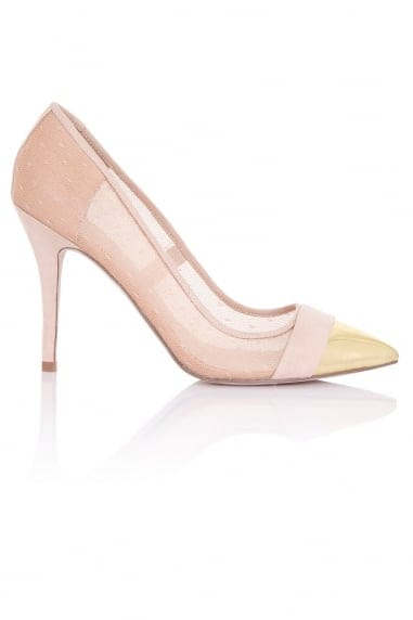 Orla Nude Sheer Gold Toe Cap Court Shoes
