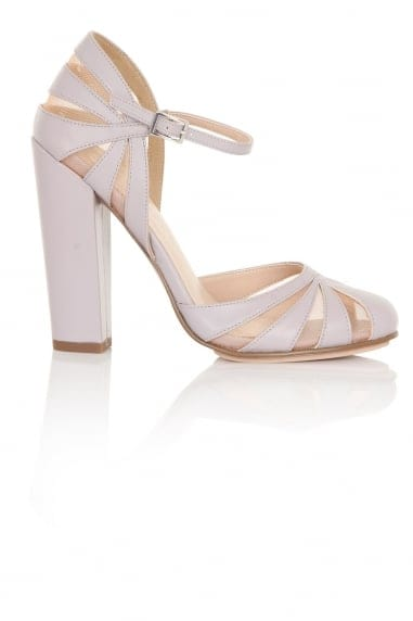 Elvie Lilac Sheer Pattern Block Heels