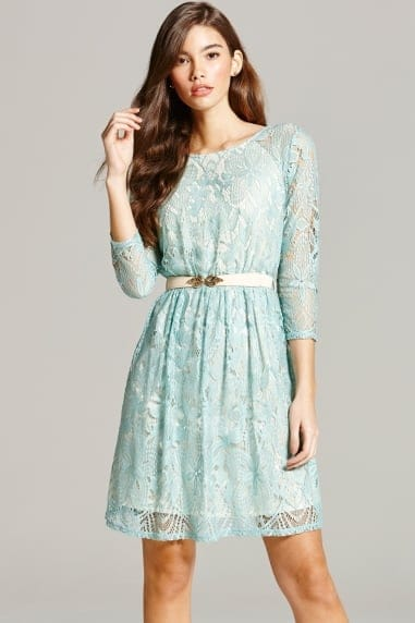 Sage Lace Mini Dress