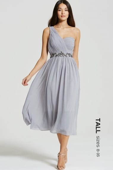 Grey One Shoulder Embellished Midi Dress
