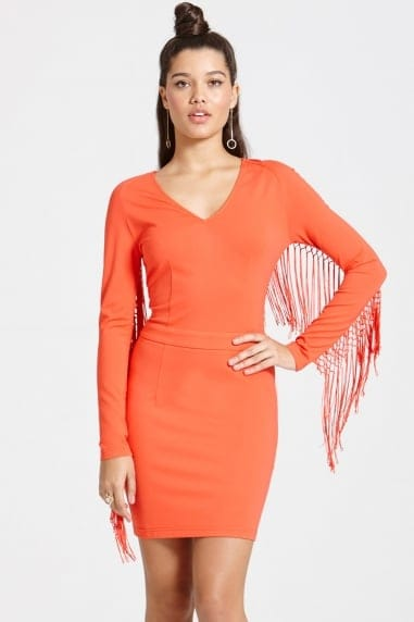 Bright Tomato Tassel Dress