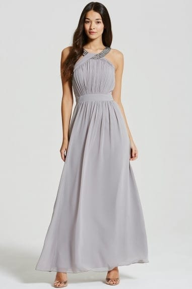 Grey Embellished Chiffon Maxi Dress