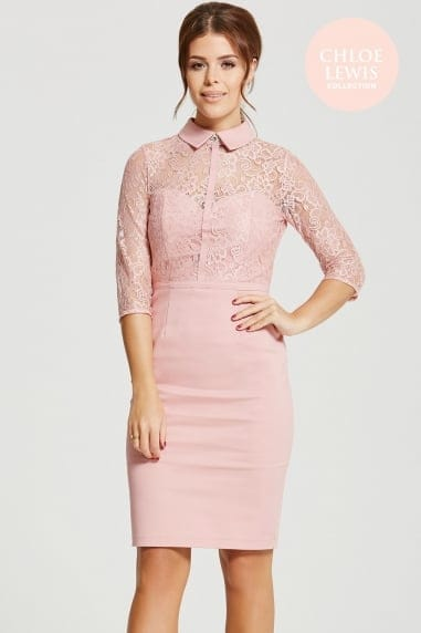 Rose Blush Lace Collar Dress