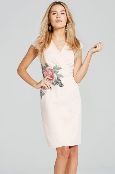 Blush Rose Applique Dress