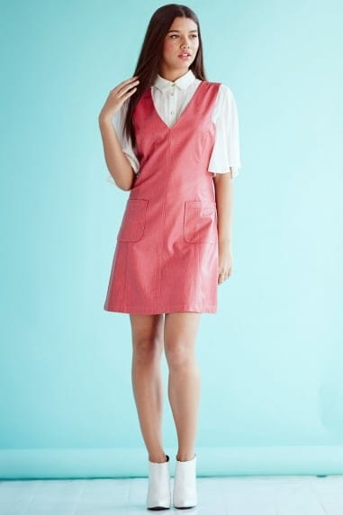 Rasberry faux Leather Dress