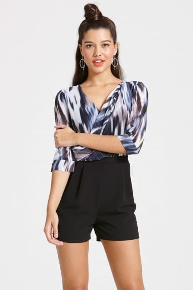 Printed Chiffon Top and Black Underlaid Playsuit