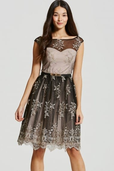 Black and Nude Embroidery Prom Dress