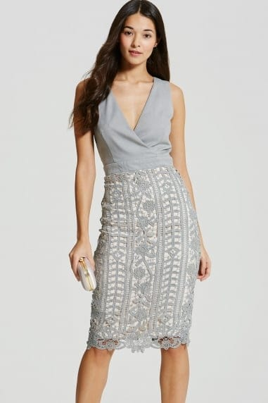 Grey Crochet Lace Wrap Front Midi Bodycon Dress